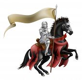 stock photo of jousting  - An illutration of a knight mounted on a black horse with flag - JPG