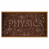 image of physical education  - School board doodle with physics symbols - JPG