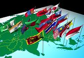 pic of south east asia  - flags of nations of south and east asia flying at their capital cities  - JPG