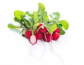 image of radish  - fresh red radishes isolated on white background - JPG