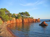 English Beach In Antheor With The Small House, Azur Coast, South Of France, Panorama poster