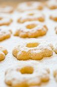 picture of sugar  - Canestrelli bisquits are typical italian shortbread cookies - JPG