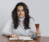 Woman planing and calculating bill payments