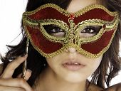 stock photo of mardi gras mask  - Beautiful mysterious woman - JPG