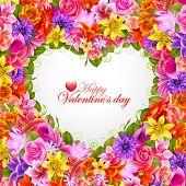 Постер, плакат: сердце из красивых цветов с розами герберы лилии и др