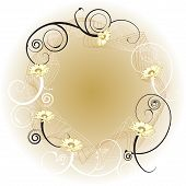 pic of floral design  - An abstract gold background border with a floral design - JPG