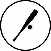 stock photo of baseball bat  - baseball bat and ball symbol - JPG
