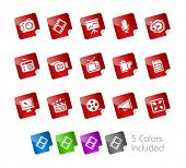 Multimedia  // Stickers Series -------It includes 5 color versions for each icon in different layers