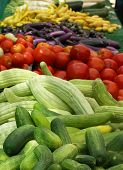 stock photo of farmers market vegetables  - display of produce at farmers market  - JPG