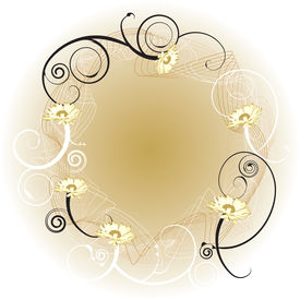 foto of floral design  - An abstract gold background border with a floral design - JPG