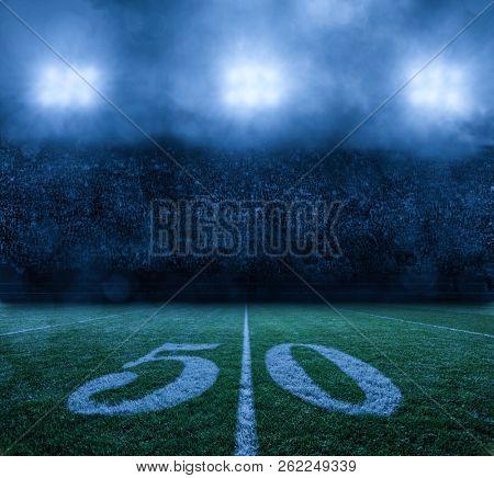 American Football Stadium at night