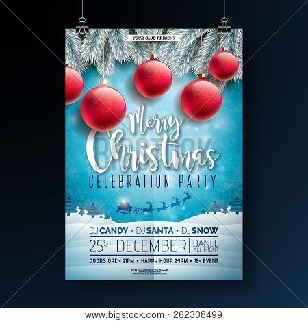 poster of Christmas Party Flyer Illustration With Typography Lettering And Holiday Elements On Winter Landscap