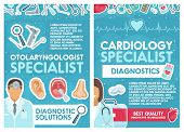Cardiology And Otolaryngology Medical Clinic. Vector Cardiologist And Otolaryngologist Doctors With  poster