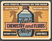 Vector Car Chemistry And Fluids, Auto Store. Vintage Auto Mechanic Service, Engine Oils And Antifree poster