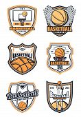 Basketball League Club Badges Or College Team Sport Icons. Vector Isolated Basketball Player Man Wit poster