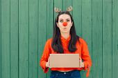 Funny Christmas Delivery Girl Holding Many Packages poster