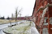 stock photo of brest  - Wall of the Brest Fortress in Brest Belarus - JPG