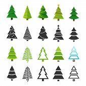 Flat Christmas Winter Trees With Festive Xmas Decoration And Black Fir Tree Silhouettes Vector Colle poster