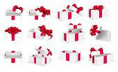 Gift Boxes. White Open Present Empty Box With Red Bow And Ribbons. Christmas And Valentine Day Vecto poster
