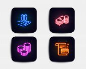 Neon Glow Lights. Set Of Savings, Tips And Loyalty Program Icons. Payment Card Sign. Finance Currenc poster