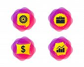 Business Icons. Graph Chart And Case Signs. Dollar Currency And Gear Cogwheel Symbols. Geometric Gra poster