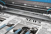 3d Render Illustration Of Printing Black And White Daily Business Newspapers Or News Papers On The O poster