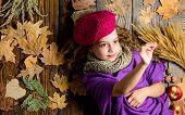 Autumn Fashion Accessories Concept. Fashion Trend Fall Season. Child Lay Wooden Background Fallen Le poster