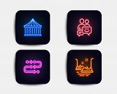 Neon Glow Lights. Set Of Carousels, Methodology And Communication Icons. Bumper Cars Sign. Attractio poster