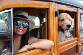 Girl with her dog. A beautiful woman with classic car and  beautiful dog. classic car. beautiful wom poster