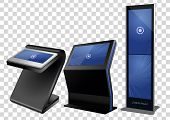 Three Promotional Interactive Information Kiosk, Advertising Display, Terminal Stand, Touch Screen D poster