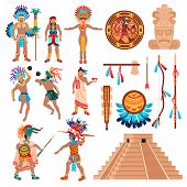 Maya Civilization Set Of Isolated Ethnic Items Idols And Human Characters Elements Of American Triba poster