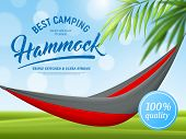Realistic Hammock And Palm Branch Advertising Poster On Green Blue Background With Bokeh Effect Vect poster