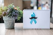 Prostate Cancer Awareness Month (november), Light Blue Ribbon On White Paper For Supporting People L poster