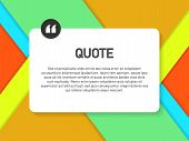 Quote Background Vector. Creative Modern Material Design Quote Template. Vector Stock Illustration. poster