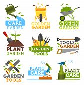 Gardening And Farming Icons, Farmer Tools. Vector Garden Plants, Watering Can And Wheelbarrow With G poster