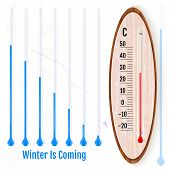 Realistic Liquid Thermometer, Celsius And Fahrenheit Scales, Red poster