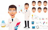 Scientist Man. Handsome Cartoon Character Creation Set, Pack Of Body Parts, Emotions And Things. Bui poster