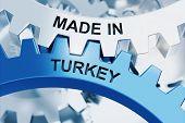MADE IN TURKEY written on cogwheels. 3d Rendering poster