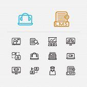 Online Education Icons Set. Development Training And Online Education Icons With Online Course, Onli poster