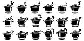 Cooking Saucepan Steam Icon Set. 18 Logo In Simple Style With Kitchen Process. Tasty Smell From Stov poster