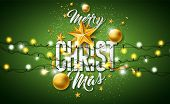 Merry Christmas Illustration With Gold Glass Ball, Star, Lighting Garland And Typography Elements On poster