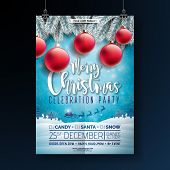 Christmas Party Flyer Illustration With Typography Lettering And Holiday Elements On Winter Landscap poster