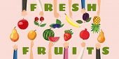Fruit Horizontal Banner Concept Hand Fresh Choice. Cartoon Illustration Of Fruit Hand Fresh Choice H poster