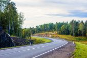Russian Roads In Karelia. Travel By Road. Asphalt Road. Smooth Road poster