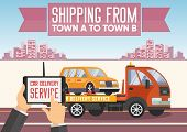 Car Delivery Concept. Shipping Vehicle From Town To Town. Car Transportation Service. Roadside Assis poster