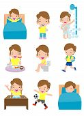 Daily Routine Activities For Kids With Cute Boy,routines For Kids, Daily Routine Of Children, Little poster