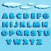 Winter Vector Alphabet With Snow. Letter Abc, Ice Cold Font, Season Frost Font, Typography Or Typese poster
