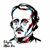Edgar Allan Poe Engraved Vector Portrait With Ink Contours. American Writer, Editor, And Literary Cr poster