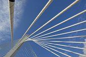 Abstract detail of Millennium bridge, Modern arhitectural construction on river Moraca, Podgorica, Capital city of Montenegro poster