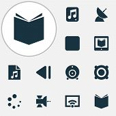 Multimedia Icons Set With Loading, Multimedia, Song List And Other Communication Antenna Elements. I poster
